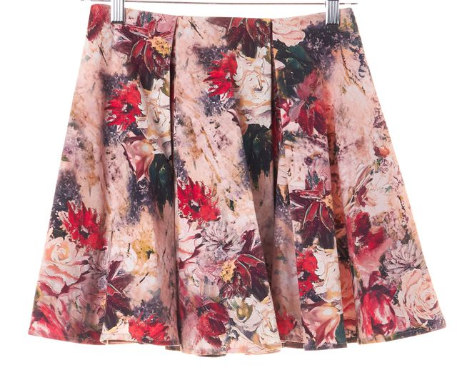 HAUTE HIPPIE Multi-color Floral Pleated Skirt