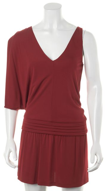 HAUTE HIPPIE Crimson Red Cold Shoulder Sleeveless Mini Sheath Dress
