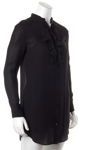 HAUTE HIPPIE Black Silk Sheer Ruffle Shirt Dress