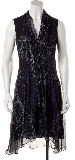 HAUTE HIPPIE Black Multi Printed Silk Leather Trim Sleeveless Blouson Dress