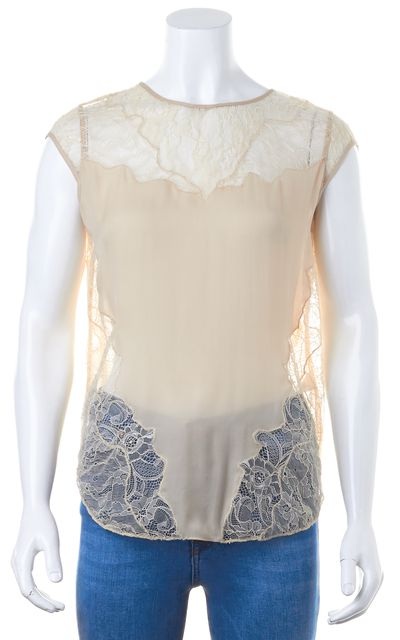 HAUTE HIPPIE Beige Lace Silk Blouse Top
