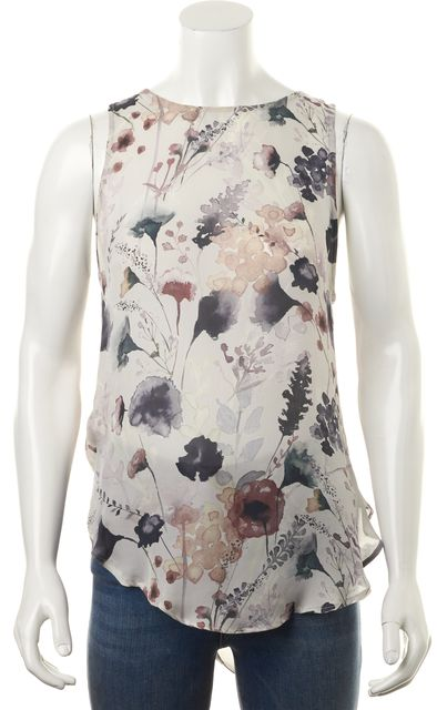 HAUTE HIPPIE Multi-Color Purple Abstract Floral Silk Sleveless Blouse