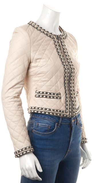 HAUTE HIPPIE Ivory Chain Embellished Quilted Leather Basic Jacket