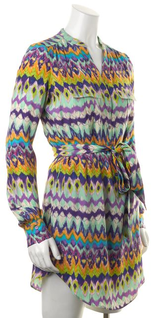 HAUTE HIPPIE Blue Purple Green Abstract Silk Belted Shirt Dress