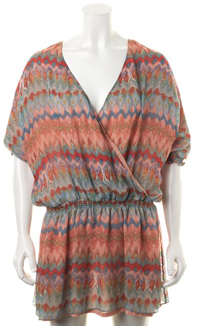 HAUTE HIPPIE Pink Blue Red Abstract Silk Wrap Effect Blouson Dress