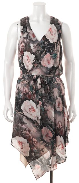 HAUTE HIPPIE Pink Gray Floral Silk Sleeveless Cowl Neck Blouson Dress