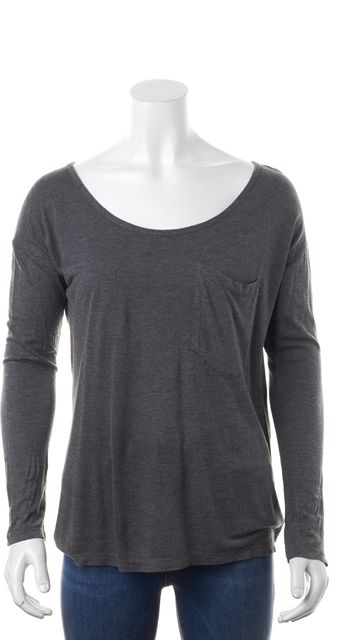 HAUTE HIPPIE Gray Modal Scoop Neck Long Sleeve Blouse Top