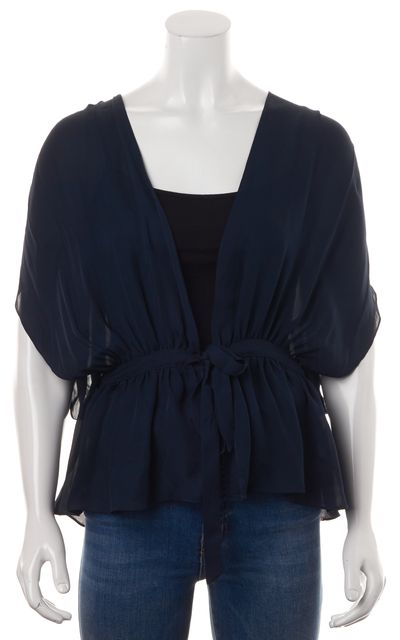 HAUTE HIPPIE Midnight Blue Silk Semi Sheer Wrap Blouse