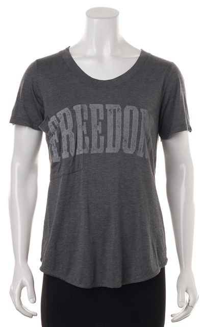 "HAUTE HIPPIE Gray ""Freedom"" Graphic Criss Cross Back Basic T-Shirt"