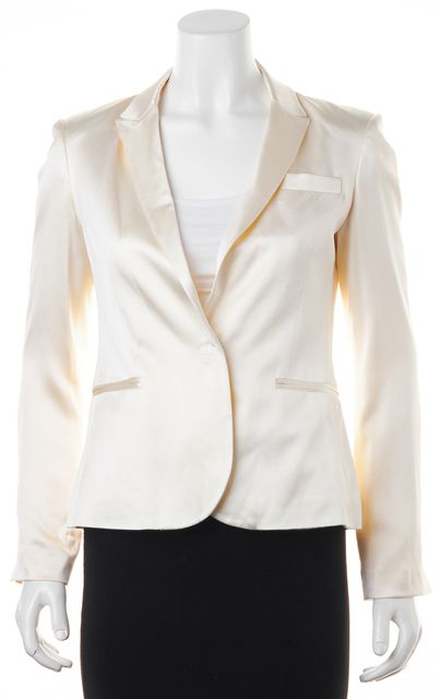 HAUTE HIPPIE Ivory Silk Single Snap Front Blazer