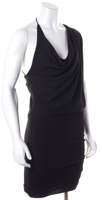 HAUTE HIPPIE Black Asymmetrical Sleeve Draped Blouson Dress