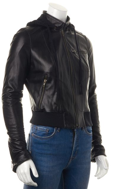 HAUTE HIPPIE Black Leather Hooded Zip-Up Motorcycle Jacket