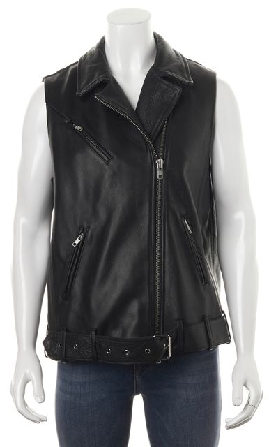 HAUTE HIPPIE Black Pebbled Cow Leather Motorcycle Style Vest