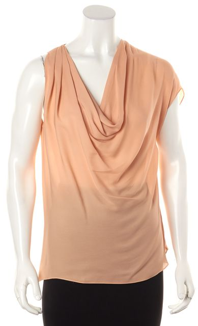 HAUTE HIPPIE Pink Silk Cowl Neck Asymmetrical Sleeve Blouse Top