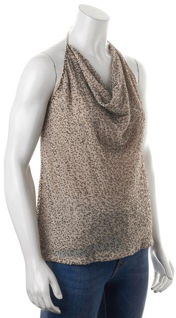 HAUTE HIPPIE Beige Metallic Bead Embellished Cowl Neck Halter Top