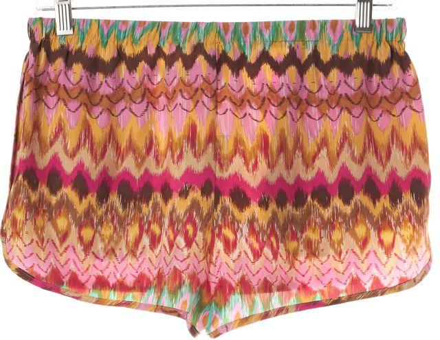 HAUTE HIPPIE Pink Ikat Printed Drawstring Waist Mini Short Shorts