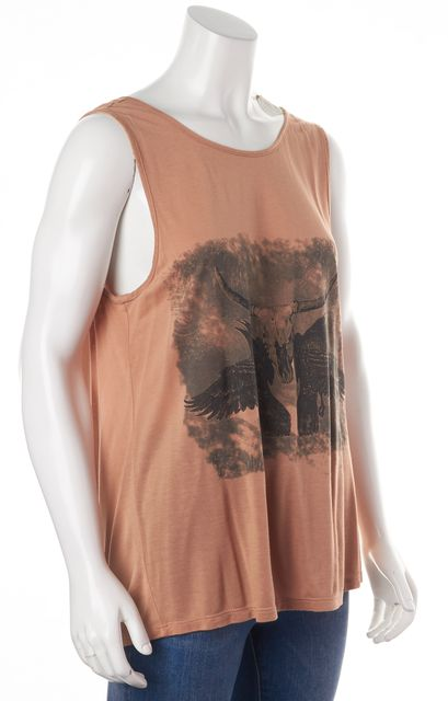 HAUTE HIPPIE Beige Gray Graphic Modal Low Back Tank Top