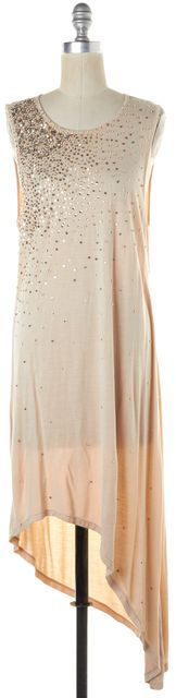 HAUTE HIPPIE Beige Embellished Sleeveless Asymmetrical Hem Maxi Dress