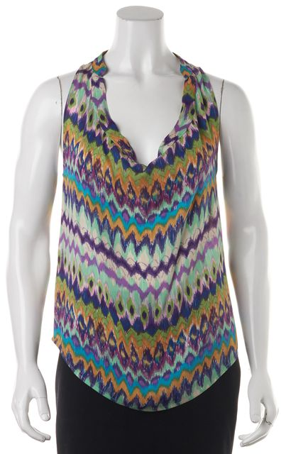 HAUTE HIPPIE Multi-Color Abstract 100% Silk Sleeveless Blouse Top