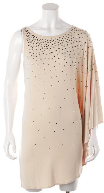 HAUTE HIPPIE Beige Jewel Embellished Asymmetrical Sleeve Shift Dress