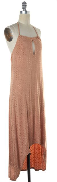 HAUTE HIPPIE Taupe Beige Gold Embellished Halter Maxi Dress
