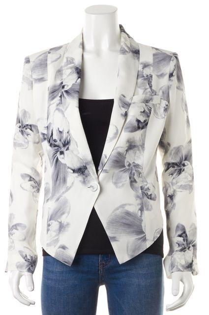 HAUTE HIPPIE White Gray Floral Silk Single Button Blazer