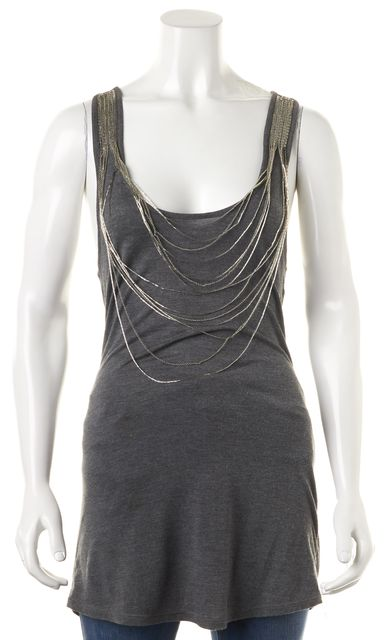 HAUTE HIPPIE Gray Embellished Cami Tank Top