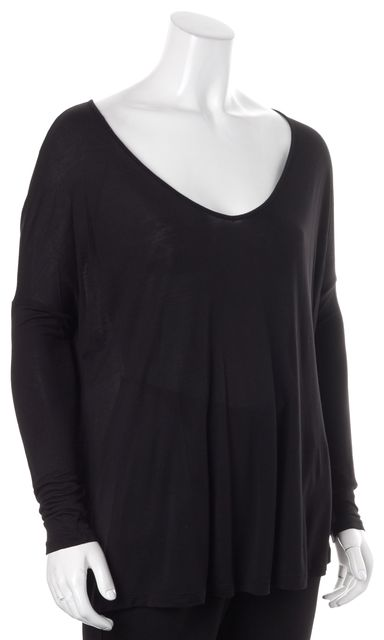 HAUTE HIPPIE Black Modal Long Sleeve Scoop Neck Basic T-Shirt