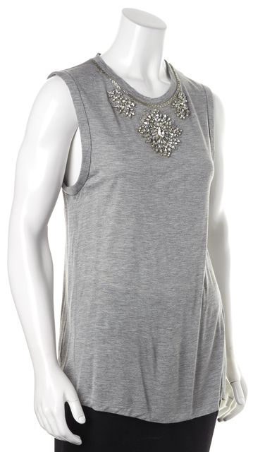 HAUTE HIPPIE Medium Gray Rhinestone Embellished Sleeveless Modal Blouse