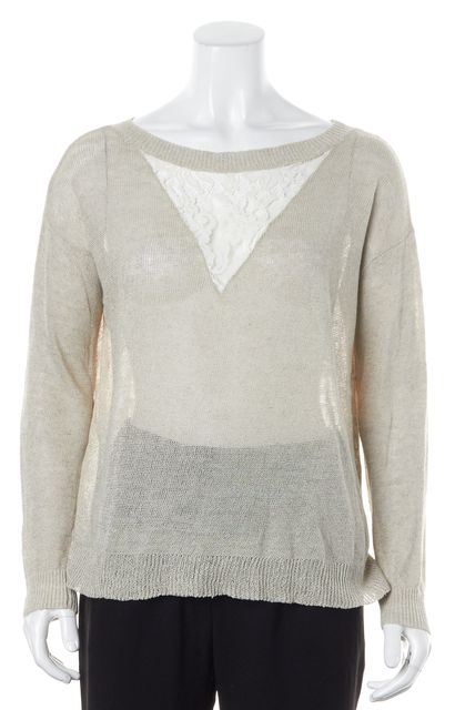 HAUTE HIPPIE Gray White Lace Linen Blend Thin Knit Top