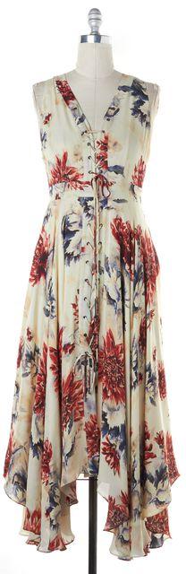 HAUTE HIPPIE Ivory Red Blue Floral Asymmetrical Hem Lace Up Dress