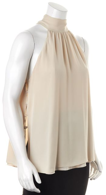 HAUTE HIPPIE Beige Silk Back Neck Tie Lace Up Sides Sleeveless Blouse Top