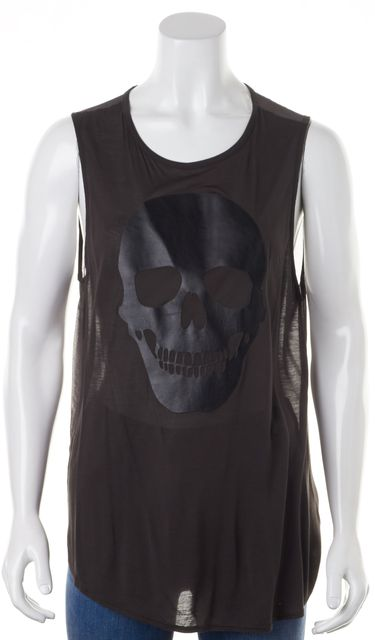 HAUTE HIPPIE Black Sheer Modal Front Silk Back Leather Graphic Tee Top