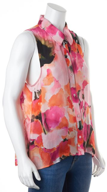 HAUTE HIPPIE Pink Orange Watercolor Abstract Print Crepe Silk Blouse
