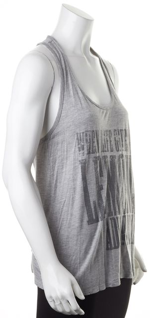 HAUTE HIPPIE Gray Graphic Modal Racerback Scoop Neck Tank Top
