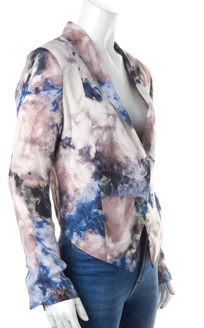 HAUTE HIPPIE Pink Blue Watercolor Print Crepe Silk Cropped Blazer
