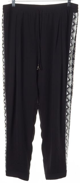 HAUTE HIPPIE Black White Sequin Bead Embellished Silk Cropped Pants