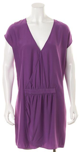 HAUTE HIPPIE Purple 100% Silk Sleeveless Above Knee Shift Dress