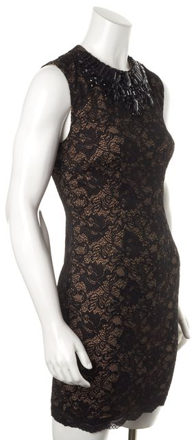 HAUTE HIPPIE Black Lace Sleeveless Knee-Length Sheath Dress