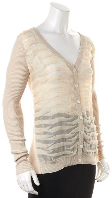 HAUTE HIPPIE Beige Ribbed Silk Semi Sheer Button Up Cardigan