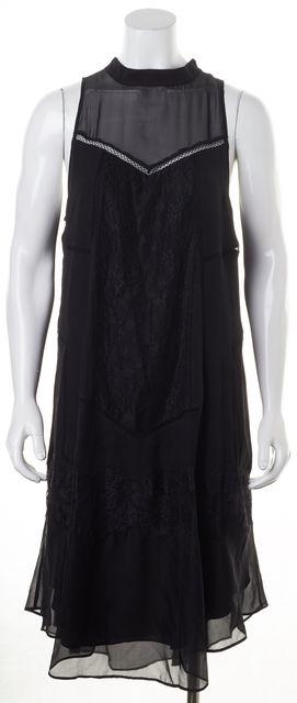 HAUTE HIPPIE Black Lace Silk Sleeveless Shift Dress