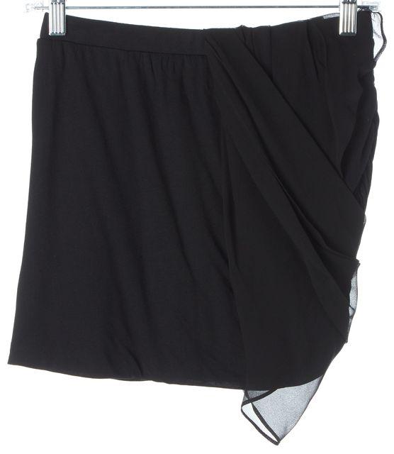 HAUTE HIPPIE Black Stretch Modal Jersey Silk Draped Ruched Mini Skirt