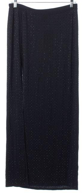 HAUTE HIPPIE Black Gem Embellished Stretch Side Slit Full Length Skirt