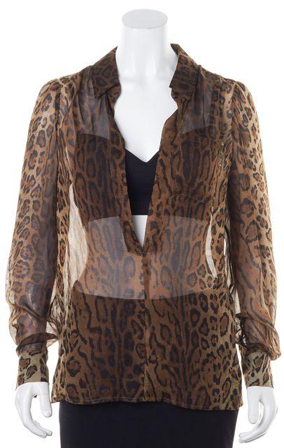 HAUTE HIPPIE Brown Sheer Leopard Printed Silk Low Cut Long Sleeve Blouse