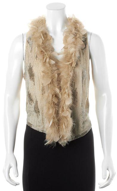 HAUTE HIPPIE Nude Silver Bead Embellished Feather Collar Crepe Silk Vest