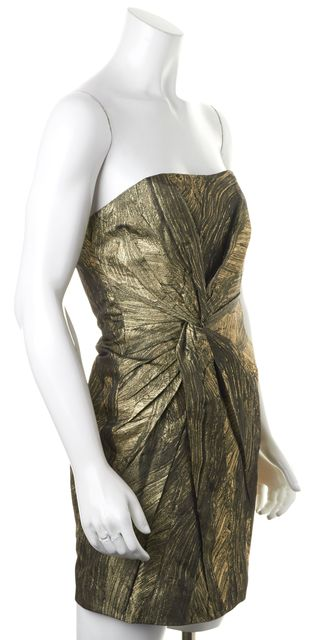 HAUTE HIPPIE Gold Black Strapless Above Knee Sheath Dress