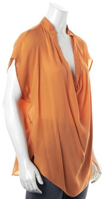 HAUTE HIPPIE Bright Orange Sheer Crepe Silk Dolman Sleeve Blouse