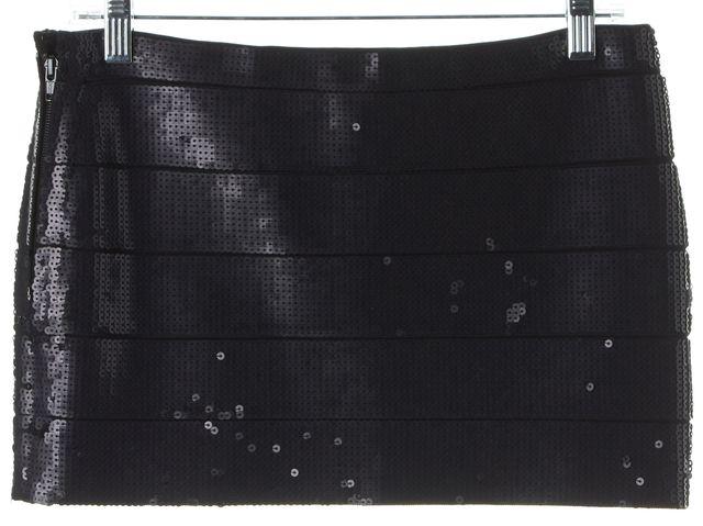 HAUTE HIPPIE Black Sequin Micro Mini Straight Skirt