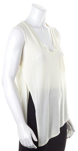 HAUTE HIPPIE Ivory Sleeveless Asymmetrical Hem Thin Knit Top