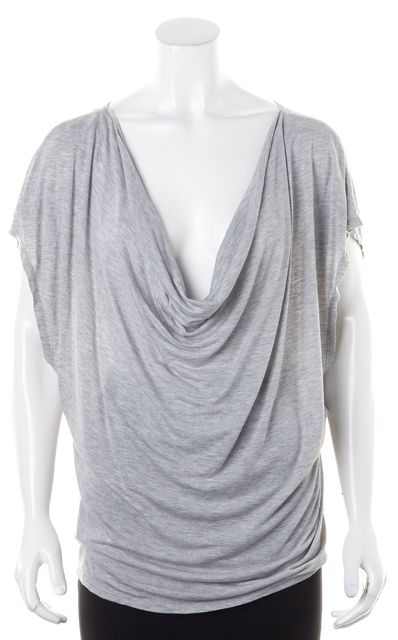 HAUTE HIPPIE Light Heather Gray Batwing Sleeve Loose Fit Blouse Top